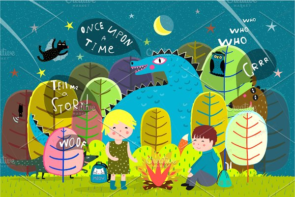 Kids camping in Forest with dragon