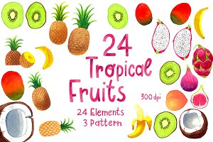 Watercolor Tropical Fruits