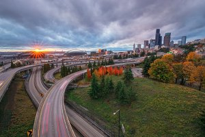 The Seattle Skyline and Freeway from