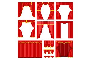 Set of red theater curtain