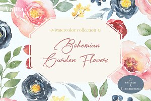 Watercolor Bohemian Garden Flowers