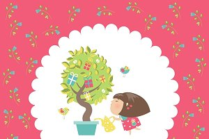 Cute girl watering tree