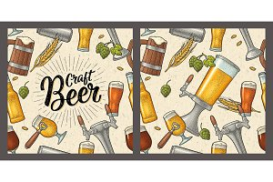 Seamless pattern beer tap, glass