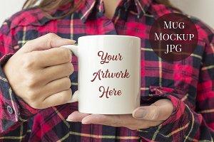 Mug Mockup - red plaid shirt