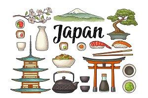 Set Japan. Fuji, pagoda, sushi