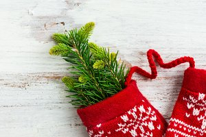 Christmas Red Knitted Mittens with