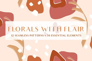 Retro Abstract Florals Pattern Set