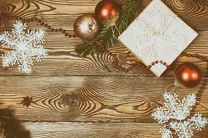 Christmas decoration over a wooden
