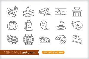 Minimal autumn icons