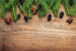 Christmas wooden background fir tree
