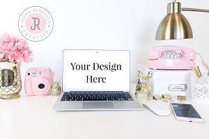 Gold & Pink Macbook Stock Photo