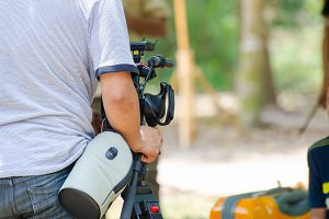 camera man in forest