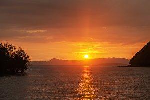 Calm Sea Ocean And sunset  Backgroun