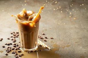 Iced latte coffee splash with ice