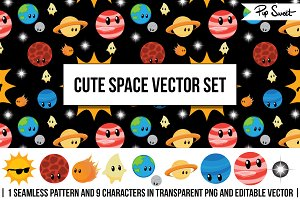 Cute Space Vector Set
