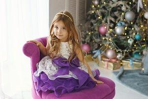 Little girl celebrates Christmas