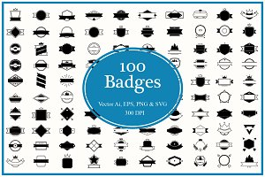 100 Badges and Frames Bundle