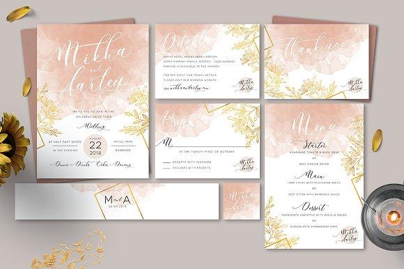 peach watercolor invitation invitation templates creative market
