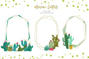 Cactus Gold Geometric Frames Clipart