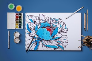 «Dark blue flower» illustration