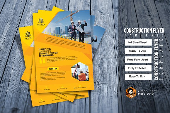construction flyer template flyer templates creative market