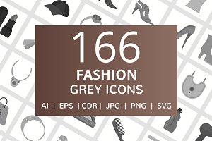 166 Fashion Greyscale Icons