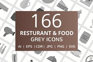 166 Restaurant & Food Grey Icons