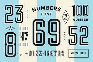 Numbers font. Sport font with