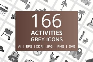 166 Activities Greyscale Icons