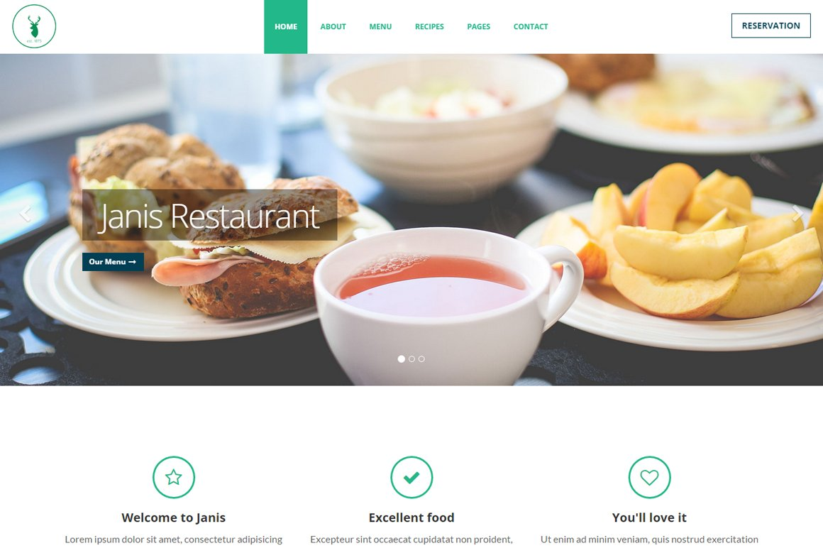 Janis Cafe Restaurant Template Bootstrap Themes Creative Market