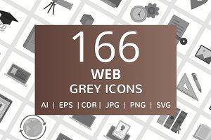 166 Web Greyscale Icons