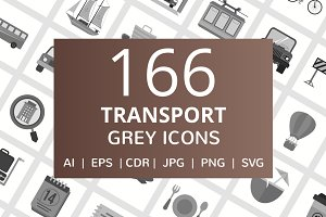 166 Transport Greyscale Icons