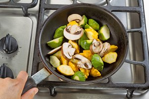 Vegetables in Fry Pan ready for cook