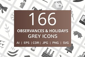 166 Observances & Holiday Grey Icons
