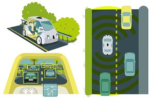 Self-driving cars colorful set
