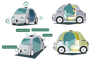 Autonomous smart cars colorful set