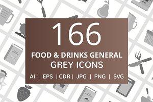 166 Food & Drinks General Grey Icons