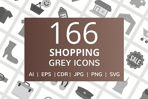 166 Shopping Grey Icons