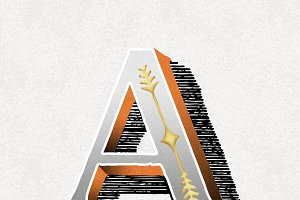 letter A vintage typography style