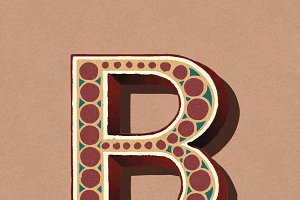 letter B vintage typography style
