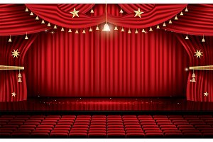 Red Stage Curtain with Seats