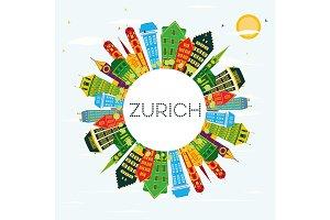 Zurich Switzerland City Skyline