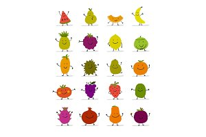 Funny fruits, character set for your