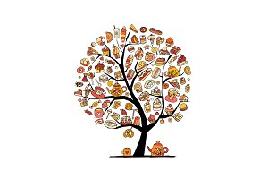 Cakes and sweets, art tree for your