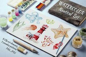 Nautical Sea Watercolor Illustration