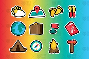 Travel And Camping Stickers Set