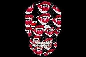Vampire fangs skull design