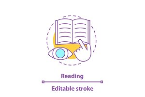Reading book concept icon