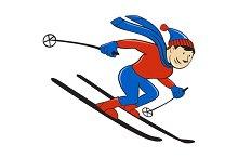 Skier Skiing Side Isolated Cartoon