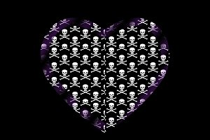 Skull and bones heart t-shirt design